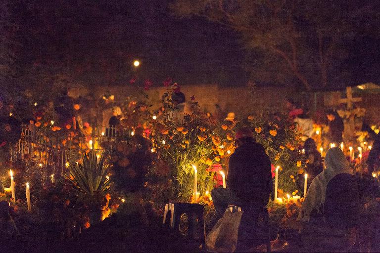 Family Vigil New Cemetery Xoxo Oaxaca Mexico