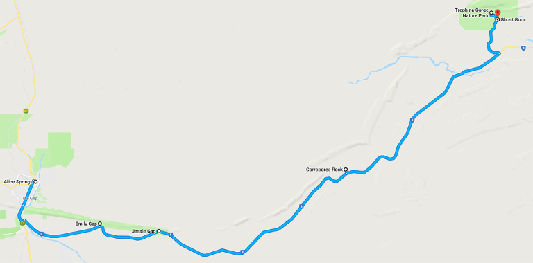 Route Map: Alice Springs to Traphina Gorge