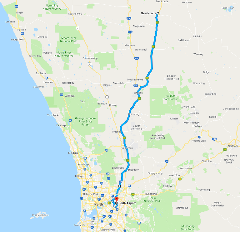 Route map: New Norcia to Perth Airport