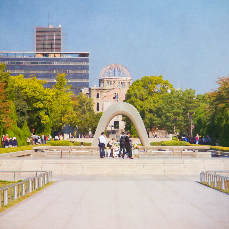Cenotaph for A-Bomb Victims with the Peace Flame and A-Bomb Dome behind