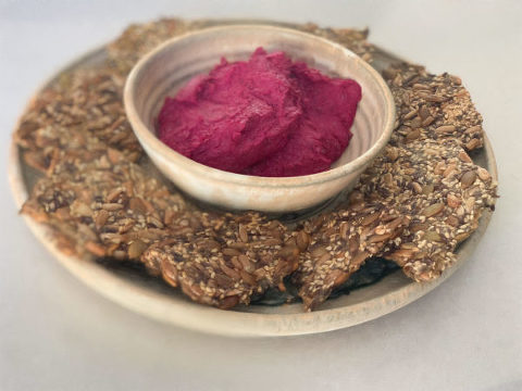 Roast beetroot dip with five seed crackers